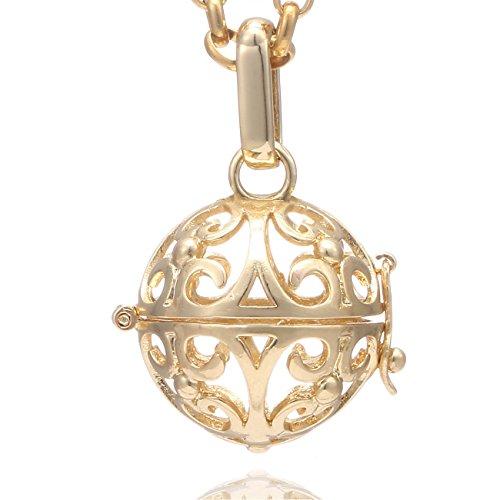 Morella Damen Halskette Edelstahl Gold 70 cm mit Ornament Anhänger Gold in Schmuckbeutel