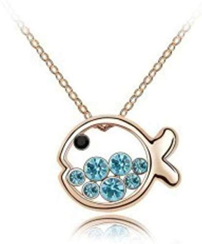 NC110 Colgantes y Collares de Cristal de pez Lindo Joyas de Regalo de Plata Tamaño 45 cm YUAHAOJIGE8