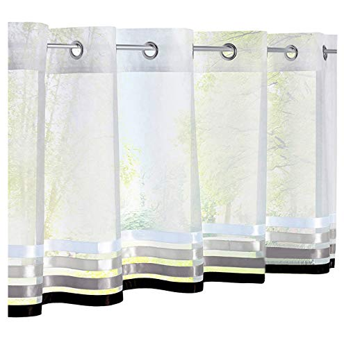 Cortina corta de poliéster para decoración de ventanas de habitación, cuarto de baño, cafetería o cocina, poliéster, blanco / negro, HxL/60x145cm
