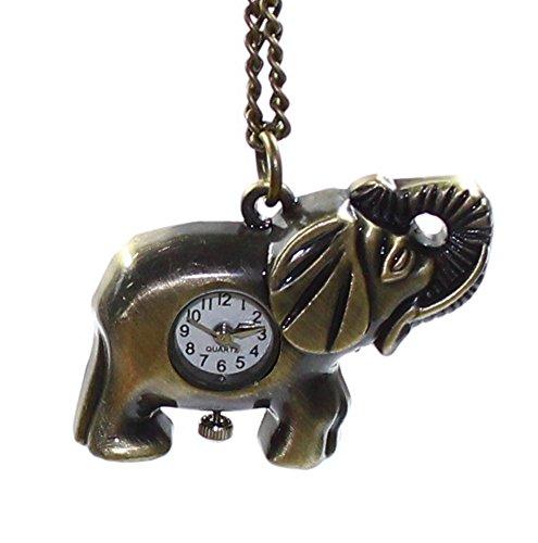 Budawi® - Halskette ''Elefant'' mit Uhr, ca. 45 x 27 mm, Taschenuhr, Anhänger Elefant