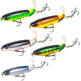 DOITPE Fishing Lures Topwater Plopper Bass Lures with Floating Rotating Tail Barb Treble Hooks in Saltwater and Freshwater for Bass Trout Walleye Pike Musky,4.0 inch/0.46 oz (AA-Combo (5PCS))