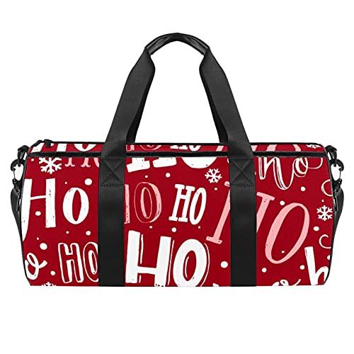 Christmas HoHo Pattern Gym Bag para hombres y mujeres Bolsas de fin de semana Deportes Viaje Duffel Bag con bolsillo impermeable