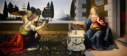 Anunciação (1472) de Leonardo da Vinci - 75x169 - Tela Canvas Para Quadro