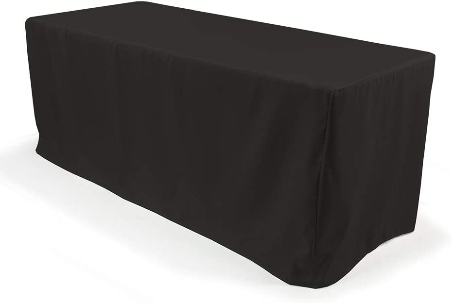 Vispronet - Black Fitted 人気ブランド Tablecloth 96in. x Fits 供え 8ft 29in.