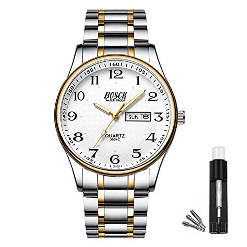 BOSCK Reloj analógico para hombreReloj de Pulsera de Moda Impermeable de Acero Inoxidable para Hombres Reloj empresarial de Cuarzo con Fecha y día automáticos, (Gold-Silver)
