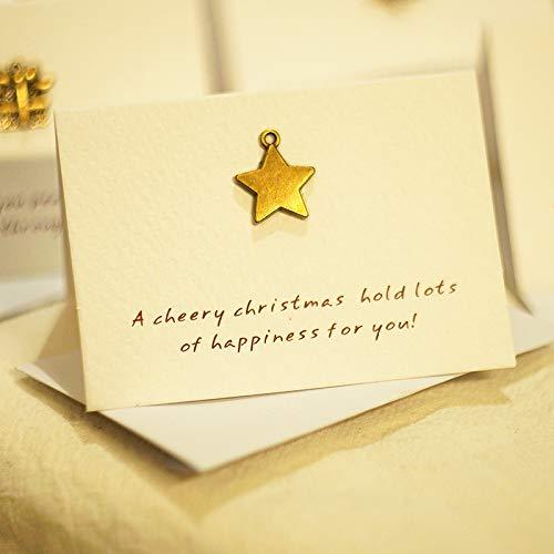 ZHOUBIN Cartoline di Natale splendidamente piegate in metallo Biglietti di auguri di capodanno San Valentino Compleanno Genitori del Ringraziamento Generale 4 fogli set