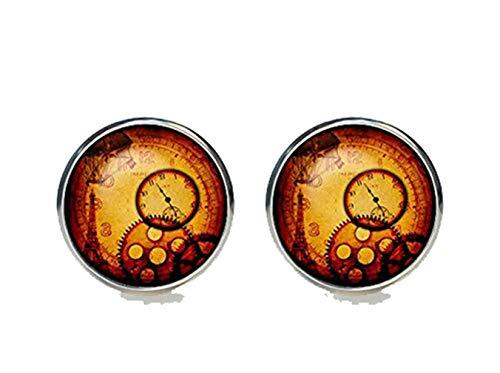 Bloody devil Gemelos con diseño artístico de Steampunk, gemelos chapados en plata, para hombres y mujeres, accesorios de la Torre Eiffel de París antiguo, reloj vintage marrón negro, regalo de amor