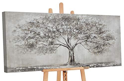 YS-Art Premium | Cuadro Pintado a Mano Arbol de la Vida | Cuadro Moderno acrilico | 120 x 60 cm | Lienzo Pintado a Mano | Cuadros Dormitories | único | Gris | PS017