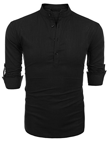 COOFANDY Herren Hemd Langarmshirt Leinenshirt aus Baumwolle Leinen Henley-Kragen Kurzen Kragen Regular Fit Freizeit Sommer Leinenhemd für Männer