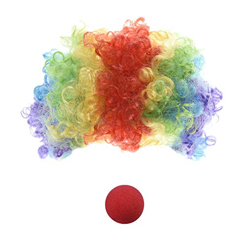 Beautyflier Multi-Color Clown Wig and Clown Nose for Costume Accessory Rainbow
