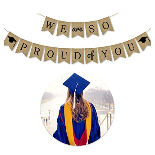 JUNICON Felicidades Grad - Bandera de arpillera para colgar, decoración de yute para graduación, decoración de fiesta de graduación para universidad, senior, suministros de fiesta de secundaria