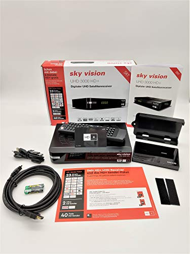 Sky Vision UHD 3000 HD+ Digitaler UHD Satellitenreceiver + inkl. 1TB Festplatte (4K UHD, HDTV, DVB-S2, HDMI, USB 3.0, PVR-Ready, 2160p, Unicable)