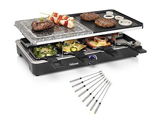 Raclette eckig - Tischgrill mit Teppan Gabeln - Steinplatte & Grillplatte wendbar für 8 Personen, 1400 Watt