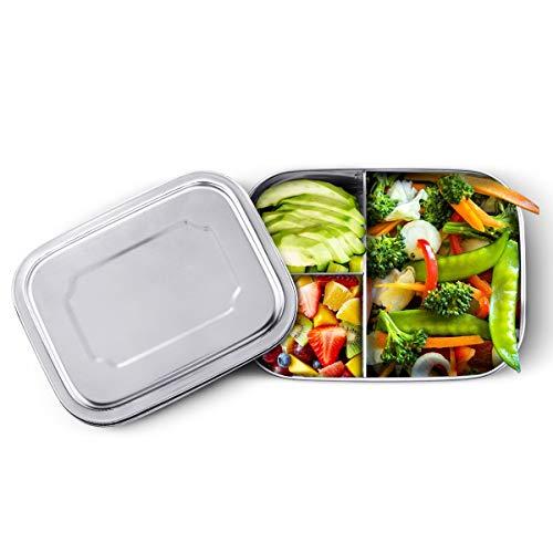 LIUMY Edelstahl Brotdose, 1000ML Hohe Dichtheit rostfreier Lunch Boxen, Lunchbox Abgerundetes Quadrat, Einfach zu säubern Bento Box tiefes Dreizonen Design