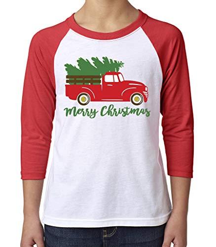 Toddler, Youth, Baby Christmas Shirt - Truck 3/4 Red Sleeve Tshirt - Youth Medium