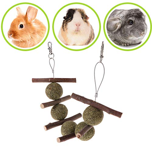 Hergon Juguetes de molienda para Mascotas, hámster, Conejo, árbol de Manzana, Rama de césped para Colgar, Suministros para Mascotas