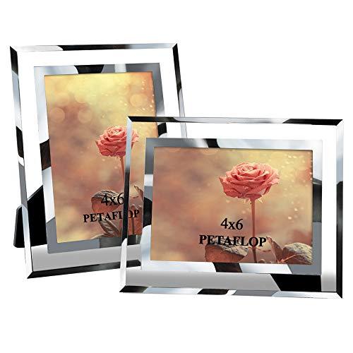 PETAFLOP Fotorahmen 10x15 Glas Bilderrahmen Foto Rahmen Hochzeit Familie 2er Set