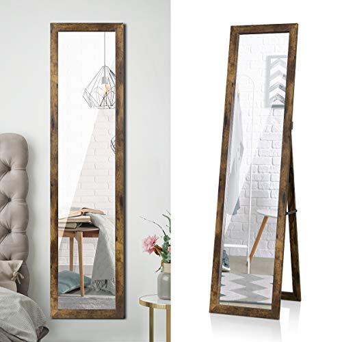 Espejo de Pie Cuerpo Entero Rectangular Espejo de Pared con 2 Formas de Uso Marco de Madera de Moderno para Pasillo...