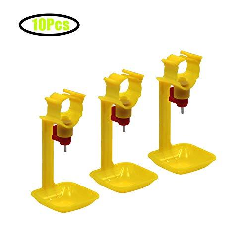 GCSEY 10 Piezas De Pollo Copas Colgantes Bebedero De Tetina Copas Automático Integrado con 25 Mm Tubos De Bola del Pezón Aves Alimentación Waterer Herramientas