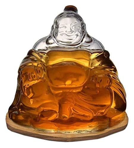 Maitreya Buddha Statue High-end Wine Bottle Decanter Large Capacity 1L With Cork