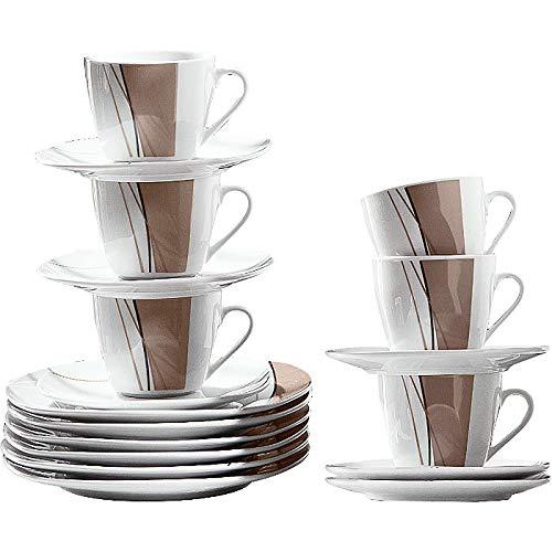 Erwin Müller Kaffeeservice, Porzellangeschirr 18-teilig, für 6 Personen - spülmaschinenfest, mikrowellengeeignet - Kaffeetasse, Untertasse, Dessertteller
