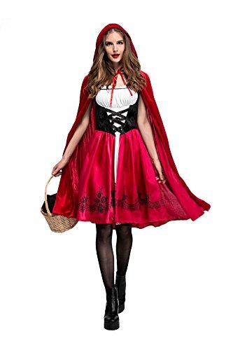 xiemushop Disfraz de Criada para Mujer Traje Medieval Cosplay Caperucita Halloween Talla S