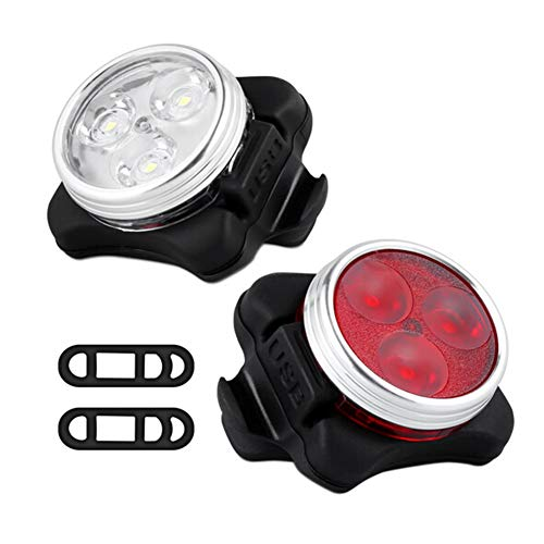 Fahrrad-Frontlicht-Set, Fahrrad-Scheinwerfer, Fahrradlichter, USB-aufladbar, LED-Fahrrad-Frontlicht + Rücklicht mit 2 USB-Kabeln + 4 Riemen