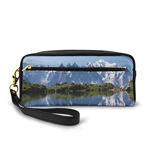Pencil Case Pen Bag Pouch Stationary,Mont Blanc Mountain Range Reflected In Cheserys Lake Alps France Panorama,Small Makeup Bag Coin Purse
