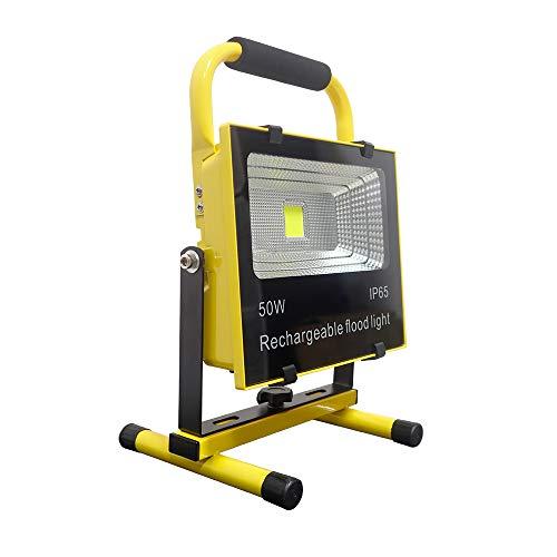 Froadp 50W Baustrahler LED Arbeitsleuchte Akku mit AC adapter und Autoladegerät LED Strahler Arbeitsscheinwerfer Wasserdicht IP65 Kaltweiß für Camping, Fischen