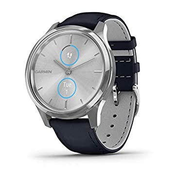 Garmin vivomove Luxe Hybrid Smartwatch (Silver with Navy Band)