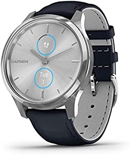 Garmin vívomove Luxe, Hybrid Smartwatch with Real Watch Hands and Hidden Color Touchscreen Displays, Silver with Navy Leat...