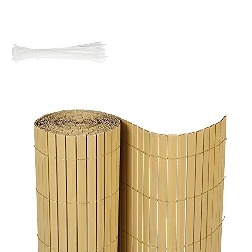 Sekey Canisse en PVC Brise Vue Tube Carré pour Jardin, Balcon et Terrasse, Résistant, Résistant aux intempéries, Intimité, avec Surface Texturée, avec Serre-Câbles, 80 x 300 cm, Bambou