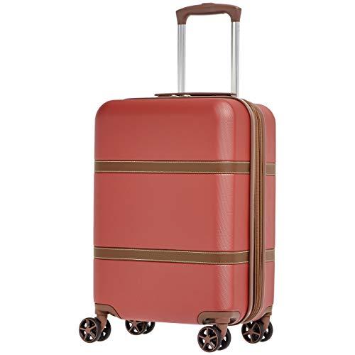 Amazon Basics - Maleta rígida «hardside» Vienna, con ruedas - 55 cm, Rojo