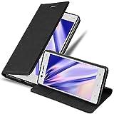 Cadorabo Hülle für Nokia 3-2017 - Hülle in Nacht SCHWARZ – Handyhülle mit Magnetverschluss, Standfunktion & Kartenfach - Case Cover Schutzhülle Etui Tasche Book Klapp Style