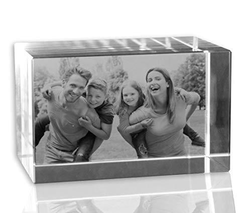 VIP-LASER 2D Gravur Glas Kristall Quader im Querformat XL mit Deinem Familienfoto. Dein Wunschfoto für die Ewigkeit Mitten in Glas! Groesse XL =...