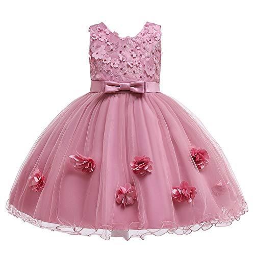 Cichic Kinder Kleider Mädchen Prinzessin Kleid Geburtstags Hochzeits Partei Tüll Kleid Mädchen Formale Kleider Pageant Brautjungfer, 4-5 Jahre, Pflaume