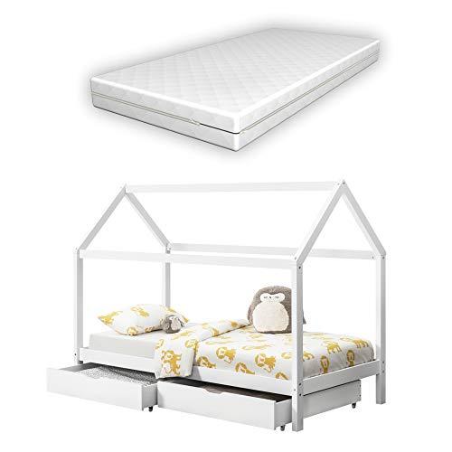Kinderbed met opbergruimte en matras - huisbed 200x90cm