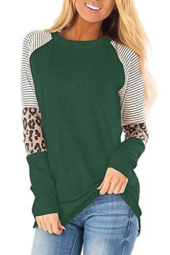 QAKEHU Damen Langarmshirt mit Leopardenmuster, Patchwork Tunika, Oberteil, Rundhalsausschnitt, Übergröße DGreen M