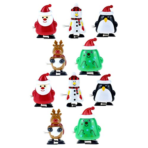 Amosfun 10pcs Christmas Wind Up Toys Reindeer Santa Tree Snowman Penguin Wind up Stocking Stuffers Christmas Party Favors for Kids