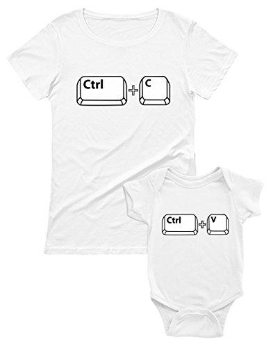Ropa Mama y Bebe Iguales - Control Paste - Set Camiseta Madre Manga Corta y Body Manga Corta Bebé Blanco Medium/Bebé Blanco 9-12 Mes