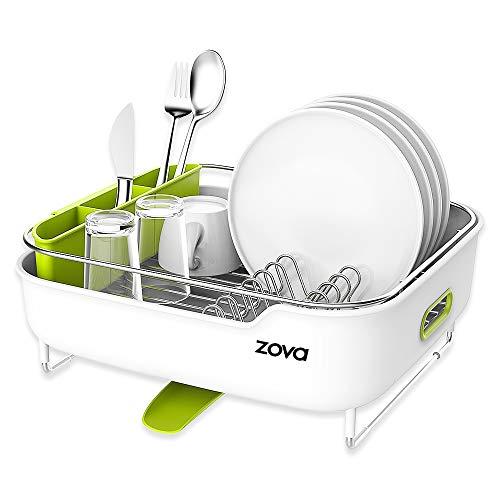 Zova - Escurreplatos de acero inoxidable de calidad con desagüe giratorio, mediano, blanco y verde