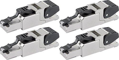 Telegärtner J00026A2000 feldkonfektionierbarer RJ45-Stecker für AWG24/1-AWG22/1, AWG27/7-AWG22/7 (4, 1 Stecker)