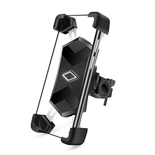 SYOSIN Soporte Movil Bicicleta Soporte Universal Manillar de Metal para Bicicleta de montaña y Motocicleta, 360°Rotación Soporte Móvil Moto para iPhone 11 Pro/11/XR/X/XS, Samsung S9/S8, Huawei P10
