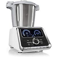 Klarstein GrandPrix - Robot de cocina, Batidora, Maquina de amasar, 500-1000W, Recipiente de acero inoxidable, 2,5L, Temperatura ajustable entre 30 y 120ºC, 12 velocidades, Acero/Blanco