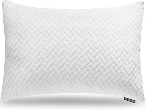 Hoperay Bed Neck Pillows for Sleeping - Bedding Shredded Memory Foam Firm Pillow - Support Side Sleeper Pillow - Adjustable Loft Washable Removable Cooling Bamboo derived Rayon Pillowcase