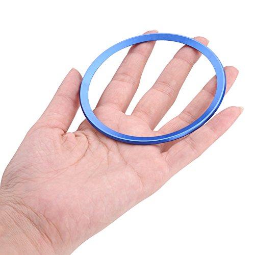 Aleaci/ón de cromo de aluminio Decoraci/ón Marco del marco para A1 A3 A4 A5 A6 Q3 Q5 Anillo de direcci/ón del coche Centro de la cubierta del anillo de ajuste Azul