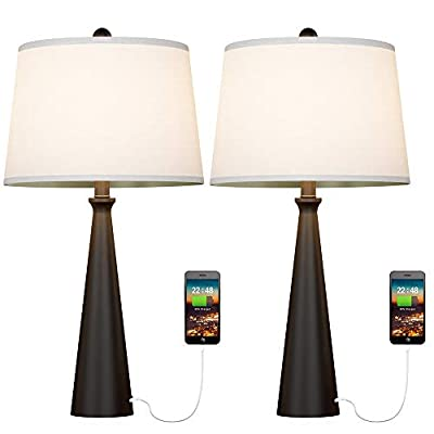 Oneach USB Table Lamp Set of 2 Modern Bedside Desk Lamp with USB Port for Living Room Bedroom Office Metal Lamps Silver