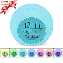 Outwit Kids Alarm Clock【2020 Version】, Student Digital Clock for Boys Girls, 7 Colors Changing Light Bedside Clock for Children's Bedroom, Indoor Temperature Touch Control Snoozing for Heavy Sleeper