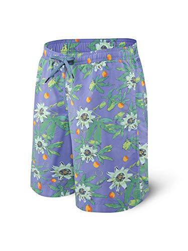 Saxx Men's Swim Shorts – Cannonball 2N1 Long Swim Trunks with Pockets – Board Shorts with Mesh Liner,Purple Hawaiian Noir,Small