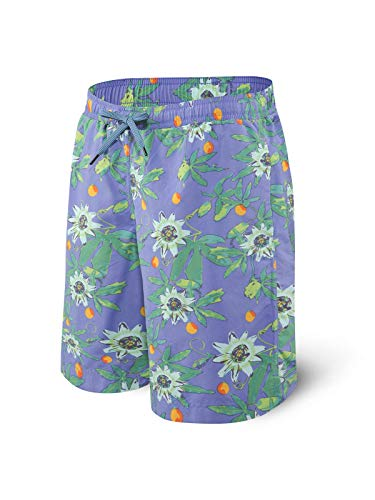 Saxx Men's Swim Shorts – Cannonball 2N1 Long Swim Trunks with Pockets – Board Shorts with Mesh Liner,Purple Hawaiian Noir,Small